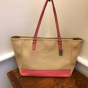 Coach Beige and pink Leather City Tote